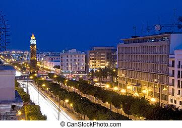 ville, rayas, reloj, túnez, luz, nouvelle, bourguiba,...