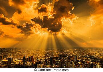 ville, rayons, nuages, bangkok, lumière, sombre, par, thaïlande, briller