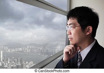 ville, regard, business, fenêtre, par, homme