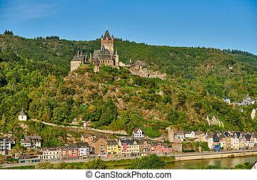 ville, reichsburg, allemagne, cochem, château, moselle, rivière