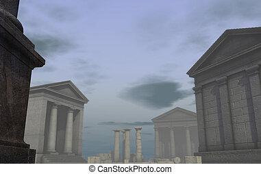 ville, render, grec classique, romain, historique, 3d