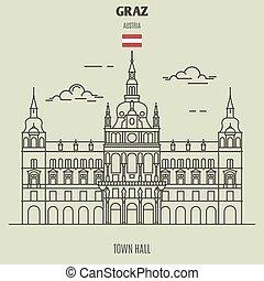 ville, repère, austria., graz, salle, icône
