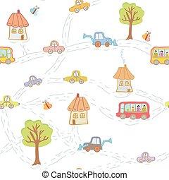 ville, rigolote, modèle, -, seamless, arbres, maisons, voitures, enfant