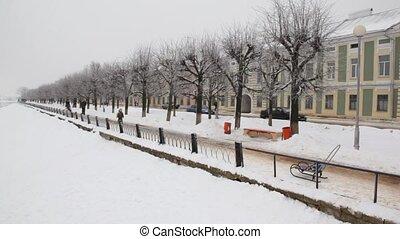 ville, rive, hiver
