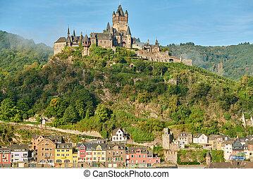 ville, rivière, allemagne, cochem, château, reichsburg, moselle