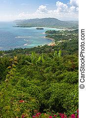 ville, rivière, antilles, nord, ocho, côte, jamaïque, dunn's, rios., chutes, plage