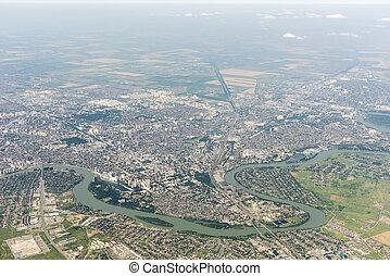 ville, rivière, kuban, krasnodar, russie