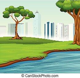 ville, rivière, paysage vert, arbres