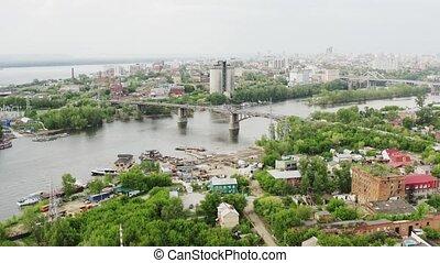 ville, rivière, ponts
