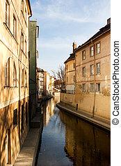 ville, rivière, vieux