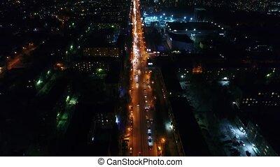 ville, road., hauteurs, lumières, bourdon, nuit, tir, night.