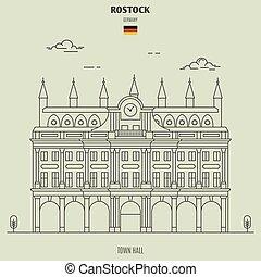 ville, rostock, germany., repère, salle, icône