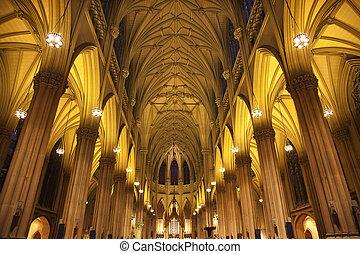 ville, rue., intérieurs, york, patrick\'s, cathédrale,...