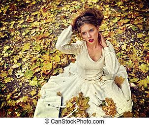 ville, séance femme, feuilles, parc, automne, mode, automne...