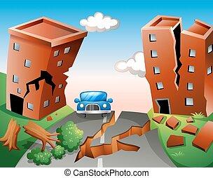 ville, séisme, scène