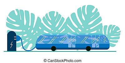 ville, sûr, eco., électrique, actionné, batterie, autobus, feuilles, electricity., contre, recharger, monstera., stop., vert, eco-amical, fond, transport commun