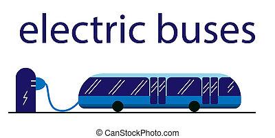ville, sûr, eco., électrique, actionné, batterie, texte, electricity., recharger, above., stop., eco-amical, autobus, transport commun