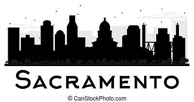 ville, sacramento, silhouette., horizon, noir, blanc