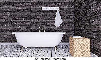 ville, salle bains, render, moderne, intérieur, apartment., 3d