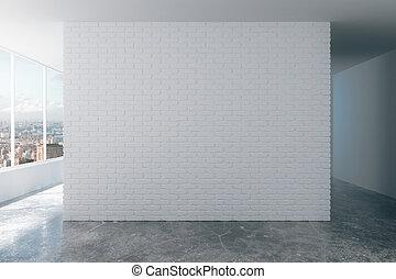 ville, salle, grenier, mur, brique blanche, vue