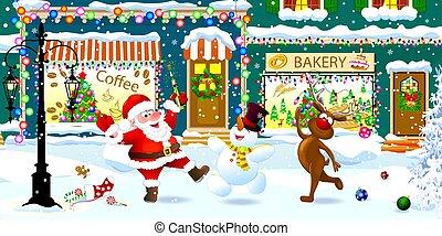 ville, santa, rue, bonhomme de neige, heureux, renne, noël, célébrer