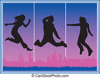 ville, sauter, gens