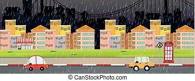 ville, scène nuit, jour, rainny