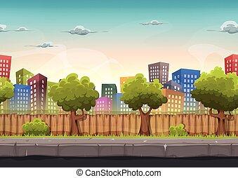 ville, seamless, jeu, rue, ui, paysage