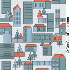 ville, seamless, modèle