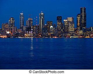 ville, seattle, lumières