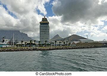 ville, secteur, port, -, front mer, cap