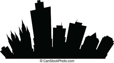 ville, sel, dessin animé, lac