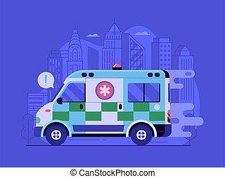 ville, service voiture, urgence, scène, jeûne, ambulance