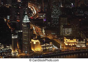 ville, shanghai, porcelaine, nuit