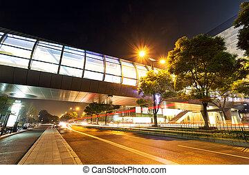 ville, siècle, moderne, nuit, avenue, vue