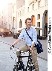 ville, sien, vélo, homme, équitation