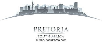 ville, silhouette, afrique, horizon, fond, blanc, pretoria, sud