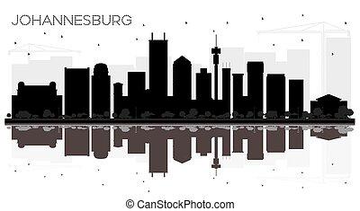 ville, silhouette, afrique, johannesburg, horizon, noir, reflections., blanc, sud