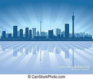 ville, silhouette, afrique, johannesburg, horizon, sud
