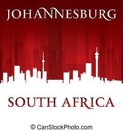 ville, silhouette, afrique, johannesburg, horizon, sud, fond, rouges