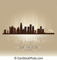 ville, silhouette, angeles, los, horizon, californie