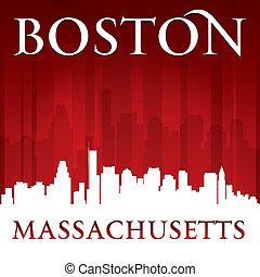 ville, silhouette, boston, horizon, massachusetts, fond, rouges