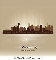 ville, silhouette, britannique, horizon, vancouver, colombie