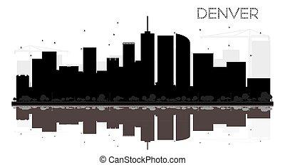 ville, silhouette, denver, horizon, noir, reflections., blanc