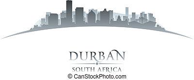 ville, silhouette, durban, afrique, horizon, fond, blanc, sud