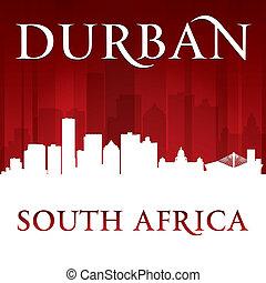 ville, silhouette, durban, afrique, horizon, sud, fond, rouges