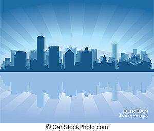 ville, silhouette, durban, afrique, horizon, sud