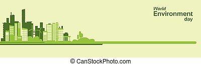 ville, silhouette, eco, environnement, vert, mondiale, bannière, jour