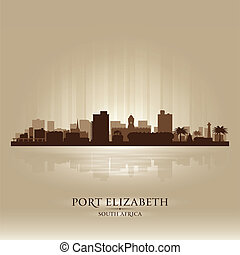 ville, silhouette, elizabeth, afrique, horizon, port, sud