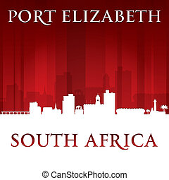 ville, silhouette, elizabeth, backgrou, afrique, horizon, sud, port, rouges